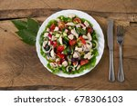 top view of a fresh salad with... | Shutterstock . vector #678306103