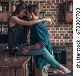 a young lovers couple drink... | Shutterstock . vector #678309703