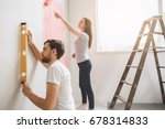 young couple doing apartment...   Shutterstock . vector #678314833