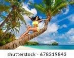 young beautiful girl in bikini... | Shutterstock . vector #678319843
