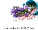 lavender flowers and bath salt...   Shutterstock . vector #678321067