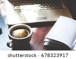 laptop  cup of coffee and... | Shutterstock . vector #678323917