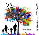 colored tree with a family.... | Shutterstock .eps vector #678324667