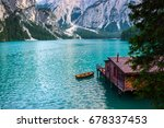 hut on braies lake   lago di... | Shutterstock . vector #678337453