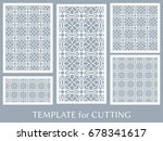 decorative panels set for laser ... | Shutterstock .eps vector #678341617