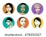 six vector woman portraits. set ... | Shutterstock .eps vector #678352327