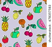 funny seamless pattern with ... | Shutterstock .eps vector #678357583