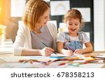 mother and child daughter draws ... | Shutterstock . vector #678358213