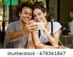 lovely mixed race couple making ... | Shutterstock . vector #678361867
