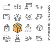 black line delivery icons set.... | Shutterstock .eps vector #678364207