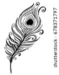 hand drawn peacock feather.... | Shutterstock .eps vector #678371797