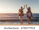 group of young friends are... | Shutterstock . vector #678377923