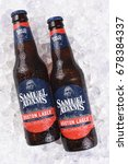 Small photo of IRVINE, CA - JULY 16, 2017: Samuel Adams Boston Lager on ice. From the Boston Beer Company. Based on sales in 2016, it is the second largest craft brewery in the U.S.