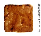 Small photo of Square stain of spilt coffee isolated on the white background