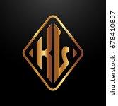 golden monogram logo curved... | Shutterstock .eps vector #678410857