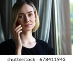 beautiful blonde thoughtful... | Shutterstock . vector #678411943