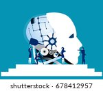 teamwork. business team repair... | Shutterstock .eps vector #678412957