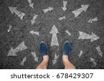 man standing on road with many... | Shutterstock . vector #678429307