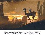 sci fi scene of man on...   Shutterstock . vector #678431947