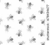 bee hand drawn seamless pattern ... | Shutterstock .eps vector #678434677