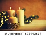 christmas candles and ornaments ...   Shutterstock . vector #678443617