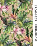 seamless tropical pattern with... | Shutterstock . vector #678449767