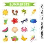 hello summer icon set  flat ... | Shutterstock .eps vector #678452293
