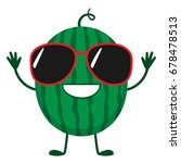 happy watermelon character with ... | Shutterstock .eps vector #678478513