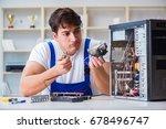computer repairman repairing... | Shutterstock . vector #678496747