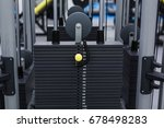 black iron heavy plates stacked ... | Shutterstock . vector #678498283