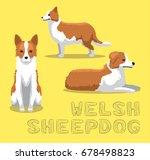 dog welsh sheepdog cartoon... | Shutterstock .eps vector #678498823