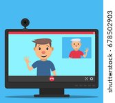 computer monitor and web camera.... | Shutterstock .eps vector #678502903