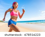 running woman runner on beach... | Shutterstock . vector #678516223