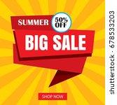 summer sale ribbon and sticker... | Shutterstock .eps vector #678533203