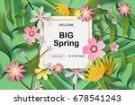 paper art of frame tropical... | Shutterstock .eps vector #678541243