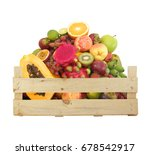 Fruits In Wooden Crate Isolate...