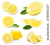 collage of fresh lemon on white ... | Shutterstock . vector #678545137