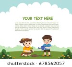 cute kids volunteers planted... | Shutterstock .eps vector #678562057