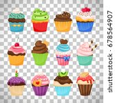 delicious cupcakes and vector... | Shutterstock .eps vector #678564907