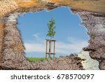 dry ground in the middle of the ... | Shutterstock . vector #678570097