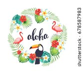 tropical wreath with flamingo ... | Shutterstock .eps vector #678587983