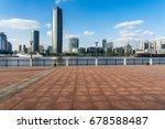 empty brick platform with... | Shutterstock . vector #678588487