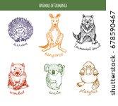 set of animals of tasmania ... | Shutterstock .eps vector #678590467