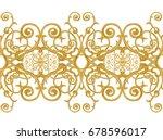 seamless pattern. golden... | Shutterstock . vector #678596017