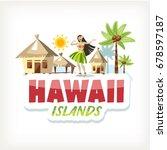 hawaii aloha lettering sticker... | Shutterstock .eps vector #678597187