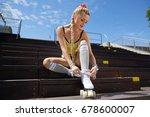 very beautiful sexy blonde girl ...   Shutterstock . vector #678600007