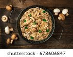 mushroom beef stroganoff  with...   Shutterstock . vector #678606847