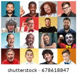 the collage from portraits of... | Shutterstock . vector #678618847