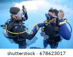 scuba divers learning how to... | Shutterstock . vector #678623017