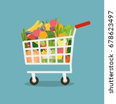 shopping cart with vegetables... | Shutterstock .eps vector #678623497